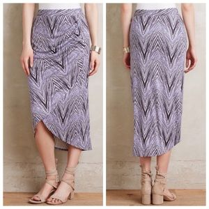 Anthropologie Maeve Monetta Midi Faux Wrap Skirt